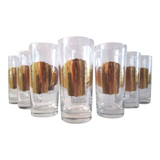 Embossed 22k Gold Seashell Tumblers - 8