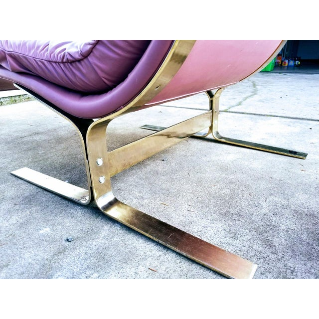 Rare Saporiti - Lane Mid-Century Leather and Brass Chaise - Image 3 of 3