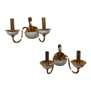 Italian Hollywood Regency Brass & Ceramic Sconces - Pair