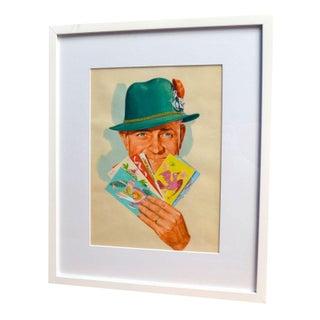 Hap Fraser 1950s Goauche Green Hat Illustration