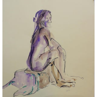 Delicate Violet Ink, Charcoal & Graphite Drawing