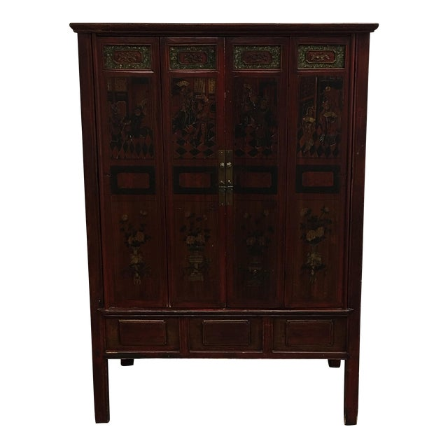 Vintage Hand Painted Asian Wedding Cabinet - Image 1 of 11