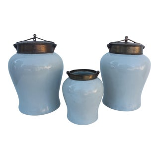 Maitland Smith White Ceramic Ginger Jars - S/3