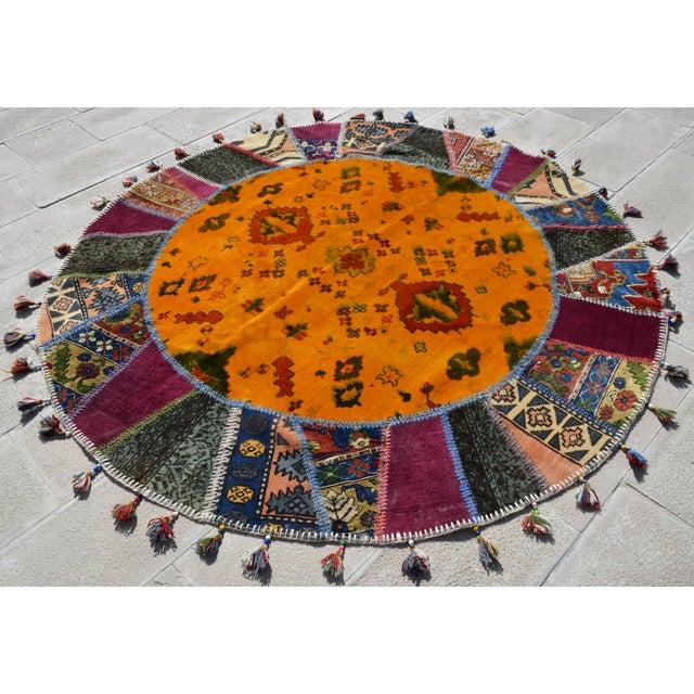 Turkish Handmade Patchwork Round Rug - 6′5″ × 6′5″ - Image 4 of 8