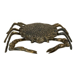Mid-Century Modern Brass Crab Trinket Box