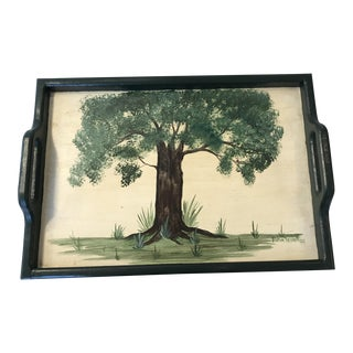 Signed Hand Painted Wood Serving Tray