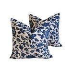 Indigo Blue Scrolling Floral Linen Pillows - Pair