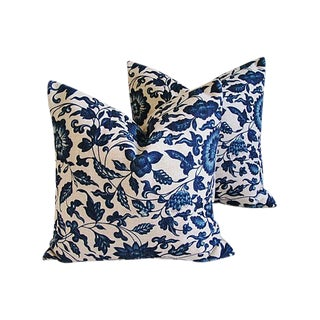 Indigo Blue Scrolling Floral Linen Pillows - Pair