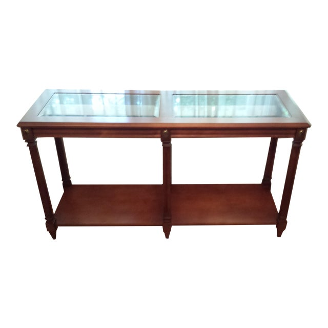 Vintage Solid Fruitwood and Beveled Glass Console Table - Image 1 of 11