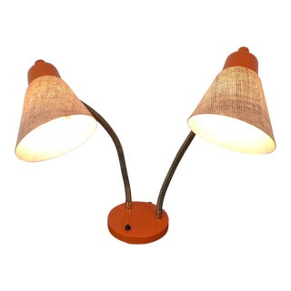 Mid-Century Modern Goose Neck Desk Light Fiberglass Bullet Shades