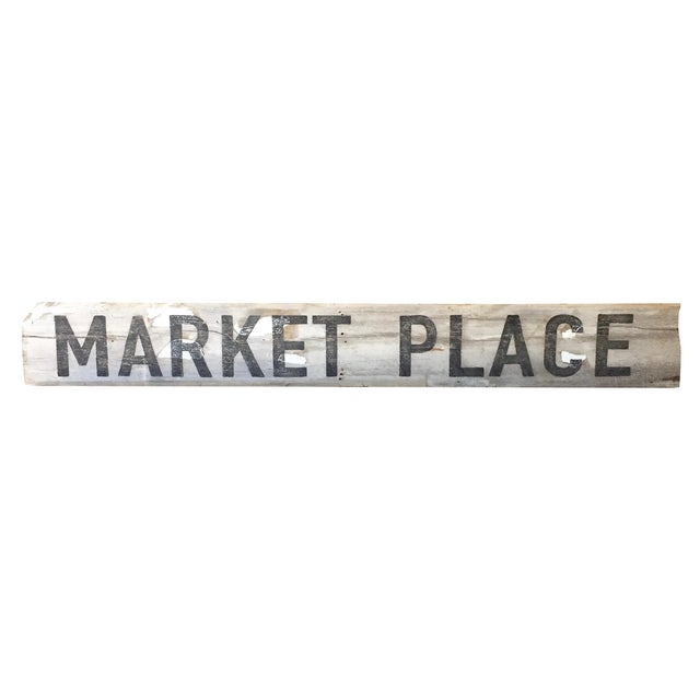 "Reclaimed Weathered Wood ""Marketplace"" Sign - Image 1 of 7"