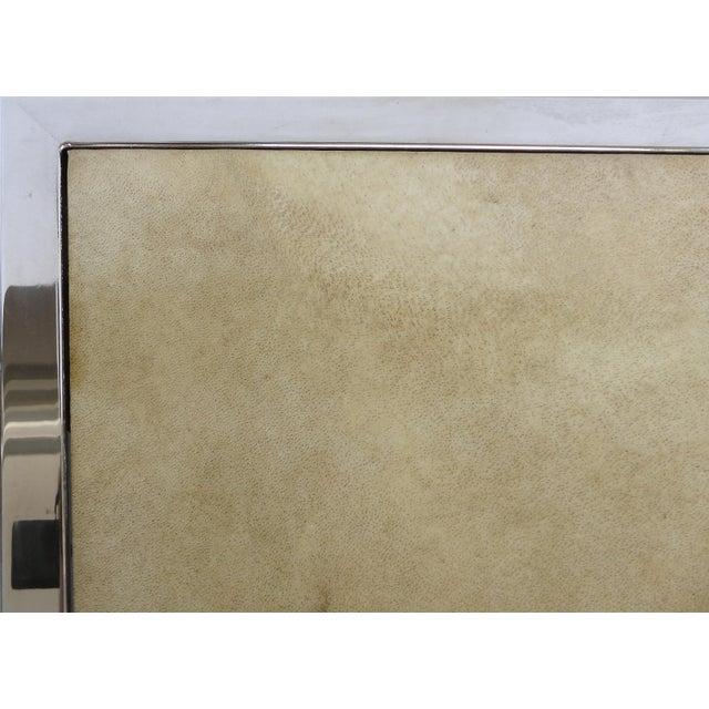 Chrome & Parchment Cocktail Table - Image 5 of 9