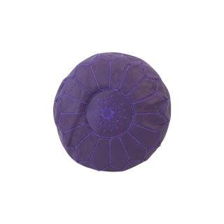Indigo & Lavender Moroccan Purple Leather Ottoman