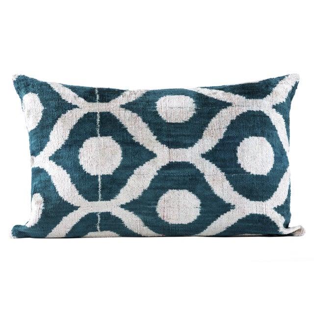 Green Silk Velvet Ikat Pillow - Image 1 of 3