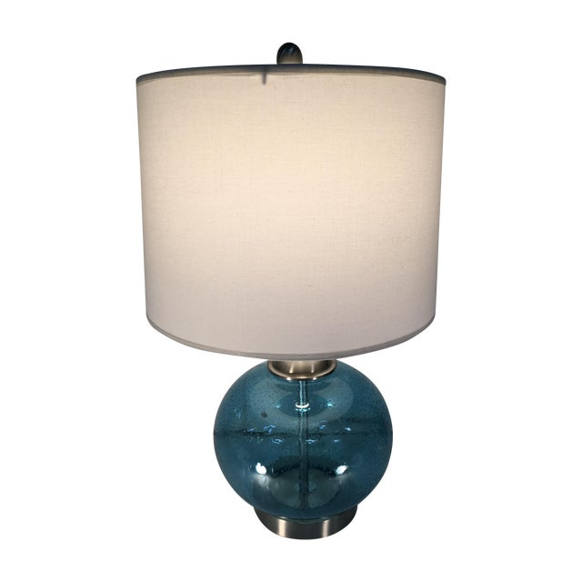 round blue round glass lamp chairish. Black Bedroom Furniture Sets. Home Design Ideas