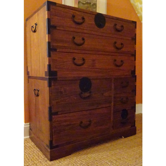 Japanese Style 3 Piece Stacking Tansu Clothing Chest - Image 6 of 11