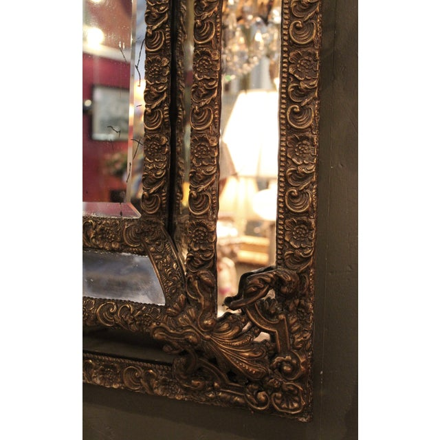 1870 Antique Italian Repousse Brass Mirror - Image 3 of 7