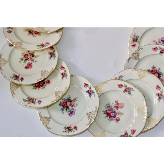 Set of 13 Floral Porcelain Czechoslovakian Epiag Dessert/Bread Plates - Image 5 of 11
