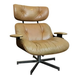 Vintage Brown Leather Plycraft Lounge Chair