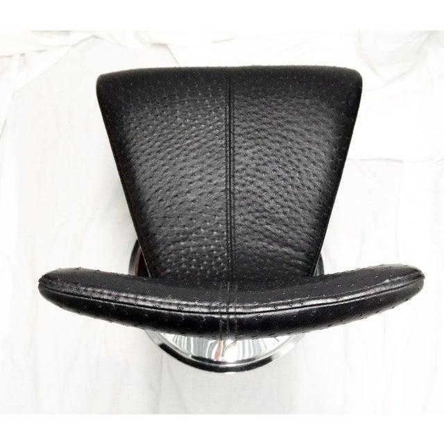 Black & Chrome Ostrich Stool - Image 5 of 6