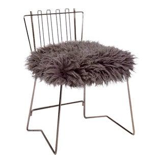 PR03 Folding Brass & Lambskin Chair