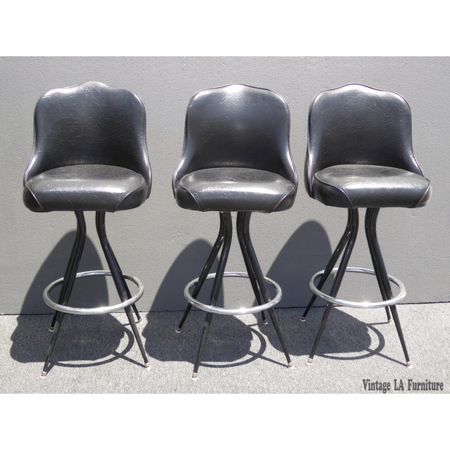 Vintage Mid-Century Modern Black Vinyl & Chrome Swivel Bar Stools - Set of 3 - Image 2 of 10