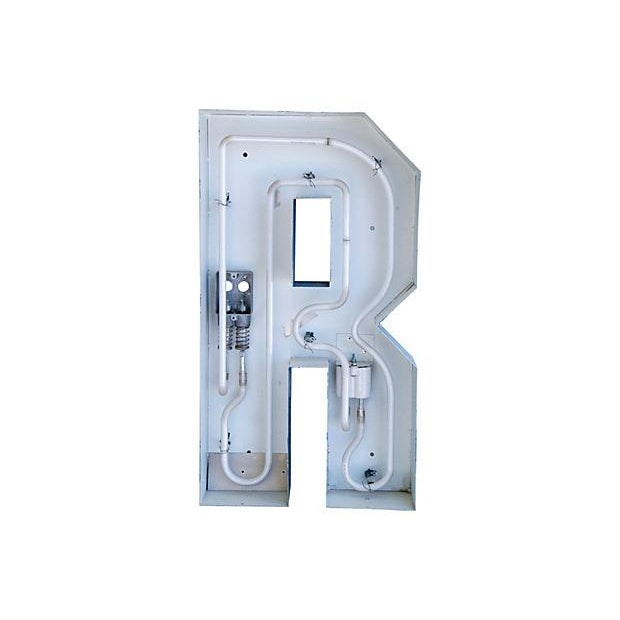 Lg. Industrial Blue & White Metal Marquee Letter R - Image 4 of 6
