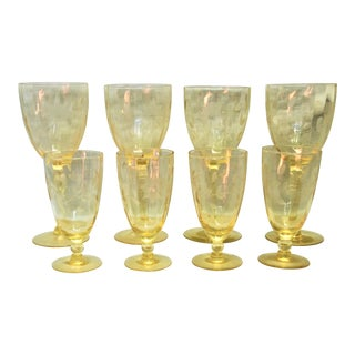 Yellow Etched Depression Wine & Desert Glasses - Set of 8