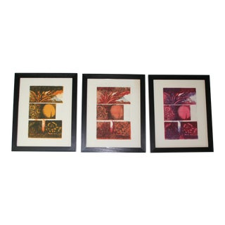 Original Vintage Abstract Woodblocks, Set of 3