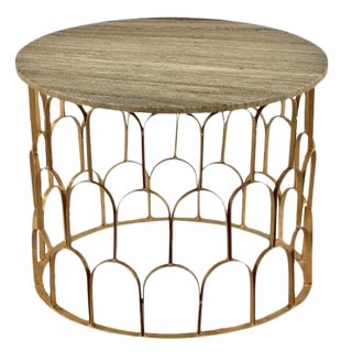 Marble & Brass Scalloped Side Table