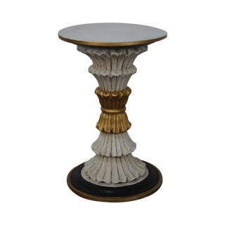 Regency Style Painted & Gilt Accent Round Pedestal Stand