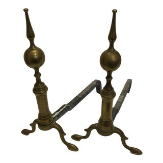 Vintage Colonial Style Brass Andirons - A Pair