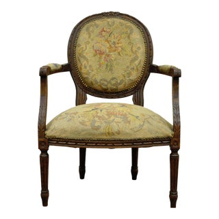 Antique 19th Century French Louis XVI Style Needlepoint Arm Chair