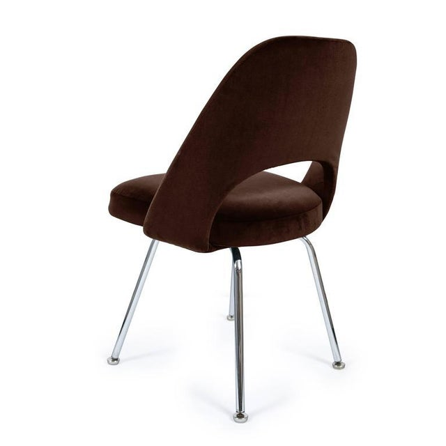 Image of Saarinen Executive Armless Chairs in Espresso Brown Velvet, Set of Six