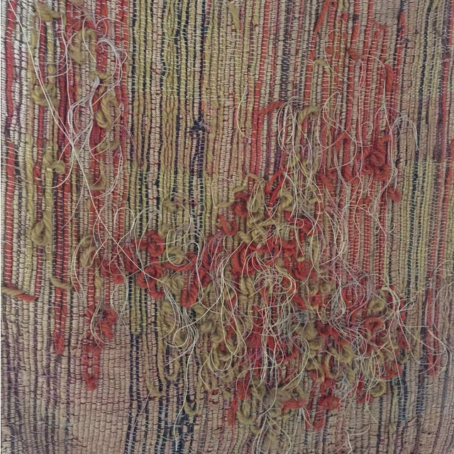 Image of Vintage Woven Textile Wall Hanging on Lucite Bar