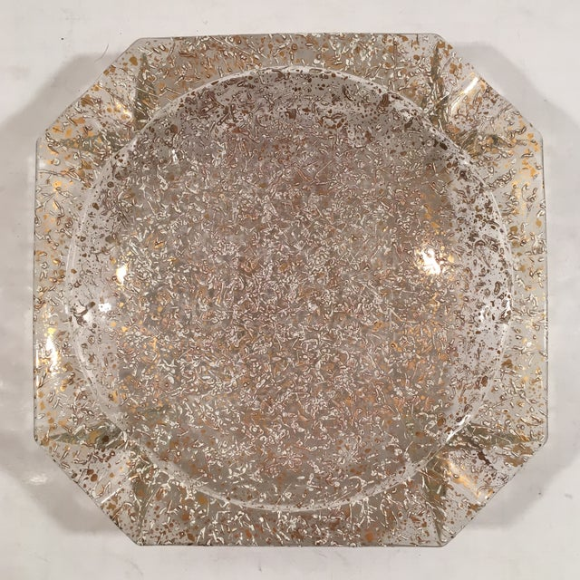 Image of Mid-Century Gold & White Glaze Glass Ashtray