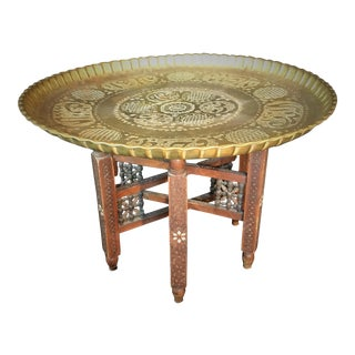Moorish Hand-Carved Pearl Inlayed Teak & Brass Table