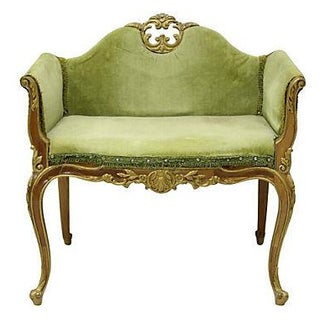 Louis XV Boudoir Bench Green Velvet