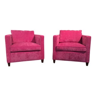 Vintage Club Chairs in Pink Velvet - A Pair