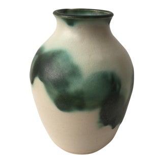 Green & Cream Ceramic Vase
