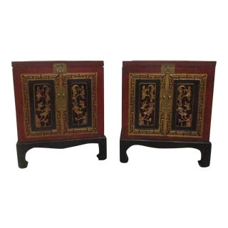 Asian Red, Gold & Black Side Chests- A Pair