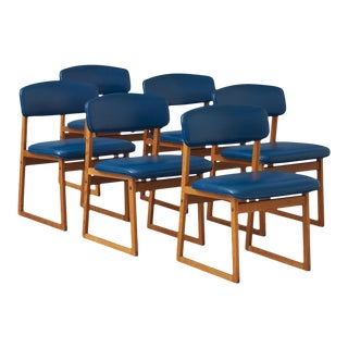 Borge Mogensen set of 6 oak based sled chairs