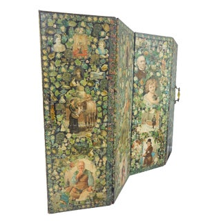 Antique Welsh Victorian Panel Decoupage Screen