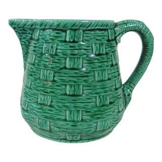 Green Basketweave Majolica Pitcher