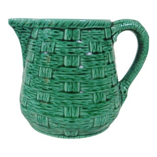 Green Basketweave Majolica Pitcher