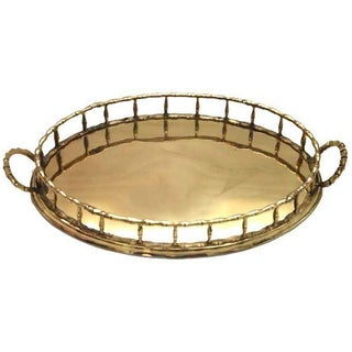 Oval Faux-Bamboo Brass Gallery Tray