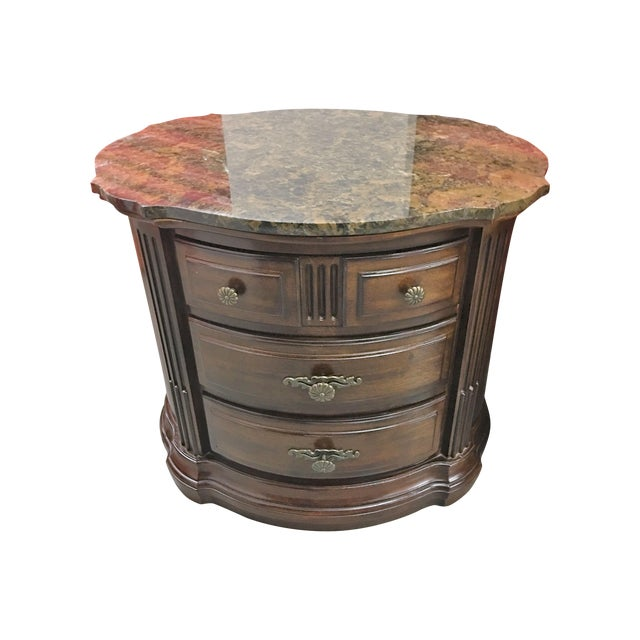 Image of Solid Dark Wood Marble-Top Nightstands - A Pair