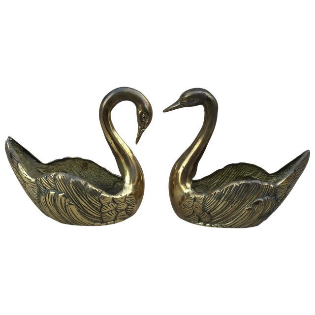 Image of Vintage Brass Swan Planters - A Pair