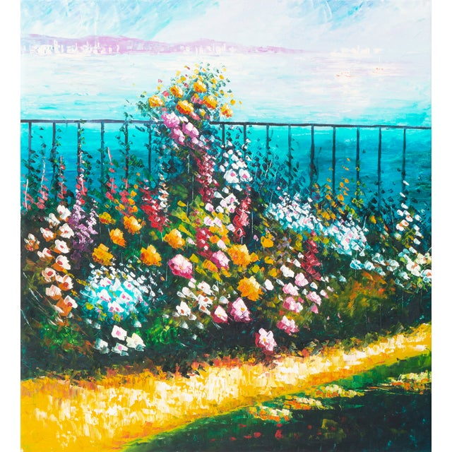 Flower Bed With Bay Overlook Oil Painting - Image 1 of 6