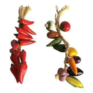 Mexican Ceramic Vegetables Ristra Rope Wall Hangings - A Pair